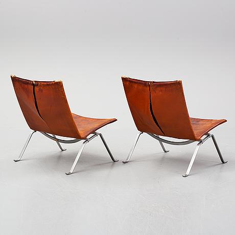 Poul kjaerholm, a pair of 'pk 22' lounge chairs, e kold christensen, denmark.