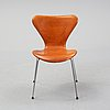 Arne jacobsen, a leather 'series 7' chair, fritz hansen, denmark.