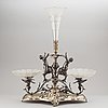 A silverplate and cut glass centrepiece, 1901.