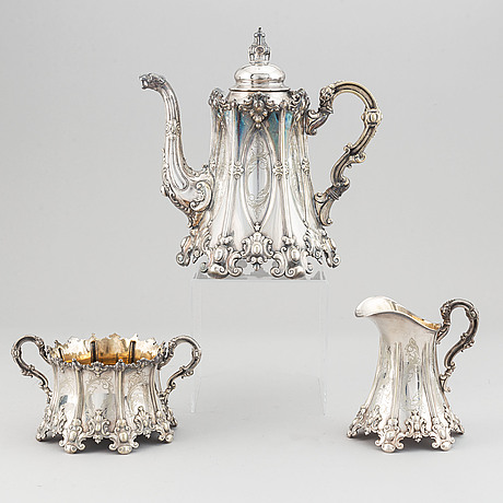 A three-piece silver plated coffee service, cg hallberg, stockholm, late 19th century.