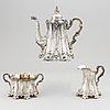 Kaffeservis, 3 delar, nysilver, cg hallberg, stockholm, sent 1800-tal.