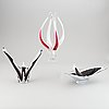 Paul kedelv, three 'coquille' glass pieces, orrefors.