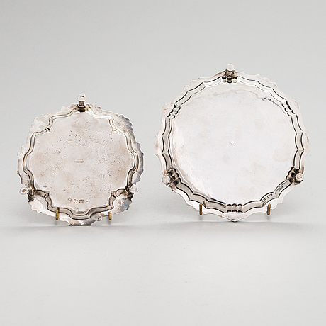 Two sterling silver card trays, london 1754 and 1860.