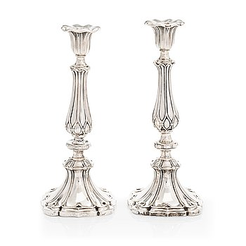 A pair of silver candlesticks, Roland or Otto Roland Mellin, Helsinki 1862.