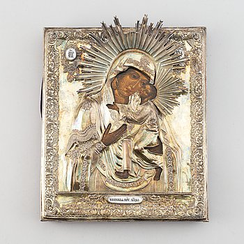 """A Russian silver-gilt icon, """"Virgin of Tolga"""", unidentified makers mark, Moscow 1835."""