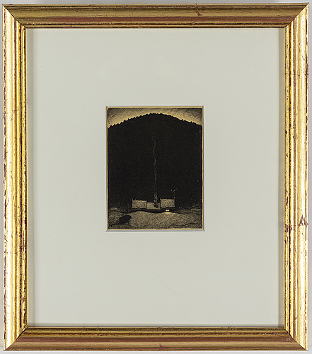 """John bauer, lithograph, from: """"troll"""", signed b in the print."""