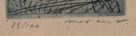Max ernst, färgetsning och akvatint, 1955, signerad 83/100.