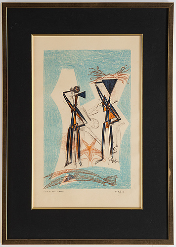 Max ernst, lithograph in colours, 1950, signed 168/200.