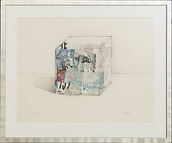 """César Baldaccini, A color etching from """"Bonjour Max Ernst"""", signed 26/100."""