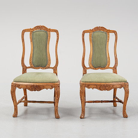 A pair of louis xv chairs, france, second half of the 18th century.
