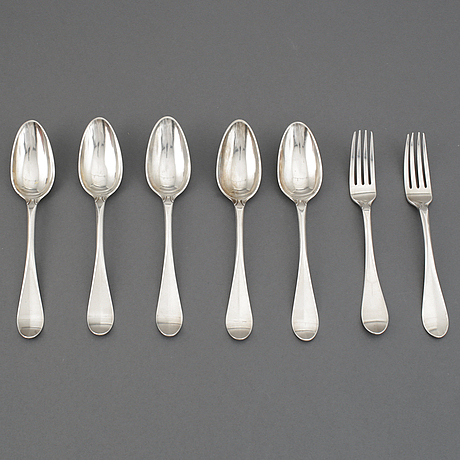 Seven pieces of silver cutlery, gothenburg, 1794 and 1902.