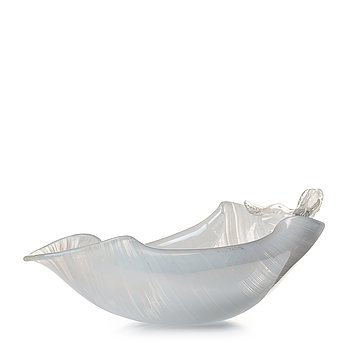 52. Tyra Lundgren, a leaf-shaped iridescent zanfirici bowl, Venini, Murano, Italy post 1938.
