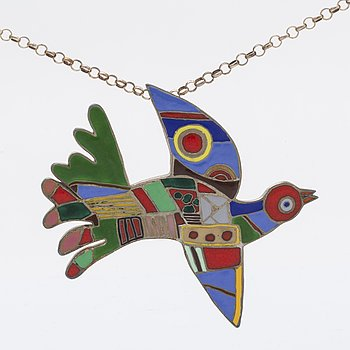 Beverloo Corneille, pendant and chain, silver and enamel, signed and numbered 12/100.