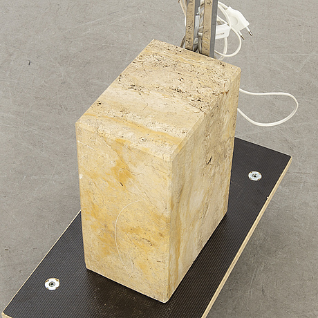Floor lamp, chromed metal and travertine, about 1970s.