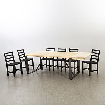 An 21st century dining table and chairs by Christer Larsson for Möbel-shop Sven Larsson Sweden.