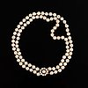 A two strand cultured pearl necklace.