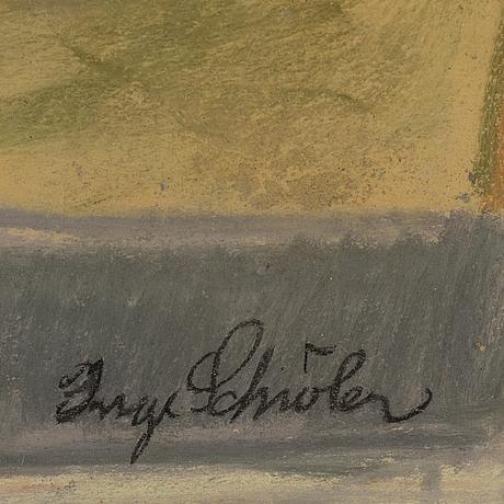 Inge schiöler, pastel, signed.