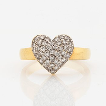 Heart shaped brilliant-cut diamond ring.