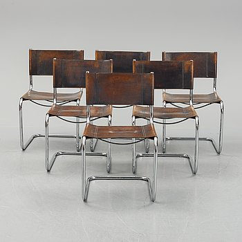 Six Fasem leather and tubular steel chairs, Italy, 1985.