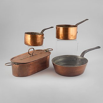 Four pans, copper, around 1900's.