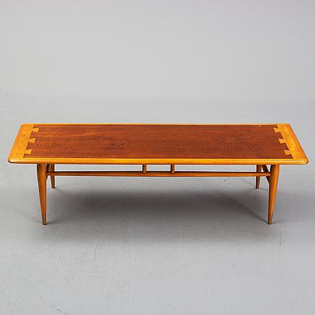 An oak and teak coffee table marked 'lane altavista, va.'.