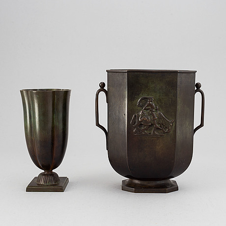 Two swedish grace bronze vases from gab brons, 1920's/30's.