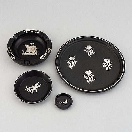 Four pieces, isolt and silver inlay, perstorp, kbå, including 1953, 1971.