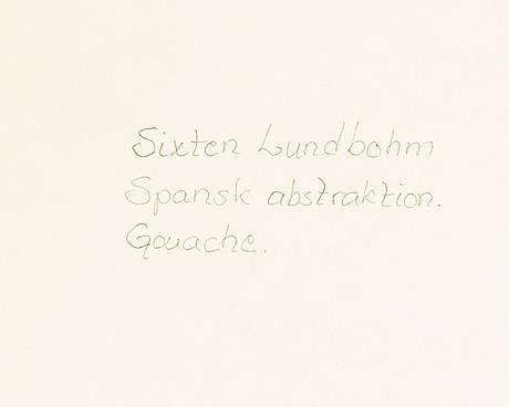 Sixten lundbohm, gouache, signed with monogram.