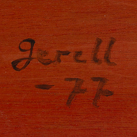 Greta gerell, oil on board, signed and dated -77.