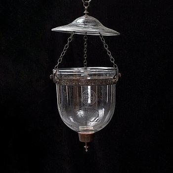 A late 19th century ceiling light, Val St Lambert, Belgium.