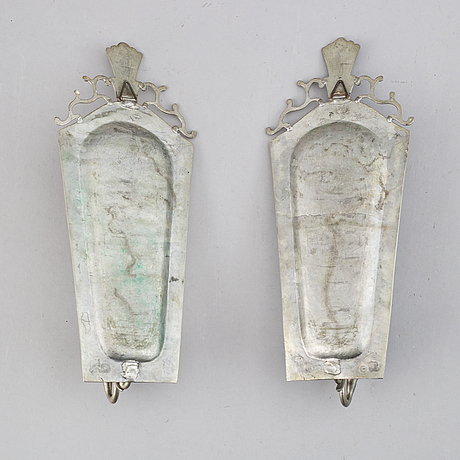 A pair of pewter wall sconces, sweden 1920's.