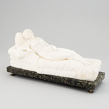 Tizian, after. Sculpture. Unsigned. Alabaster. Length 36.5 cm. Height 19 cm.