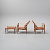 """Kaare klint, a set of four """"safari"""" chairs and two foot stools, denmark, second half of the 20th century."""