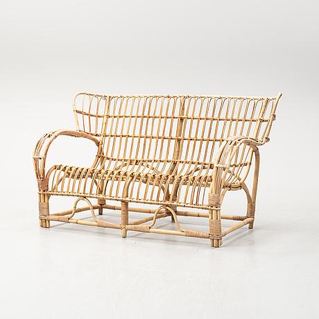 A rattan sofa, possibly viggo boesen, mid 20th century.