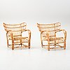 A pair of rattan easy chairs, possibly viggo boesen.