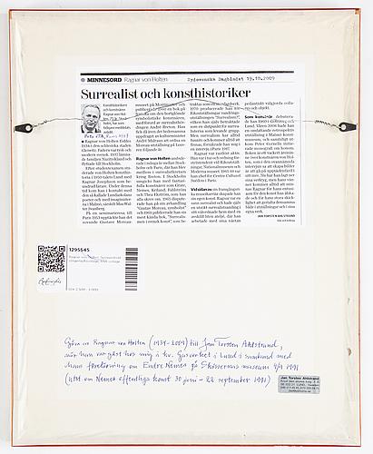 Ragnar von holten, collage, signerat och daterad sep -91.