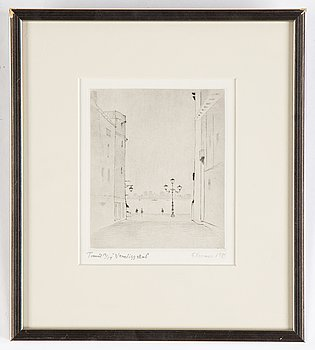 Gunnar Norrman, drypoint etching, 1989, signed 12/14.
