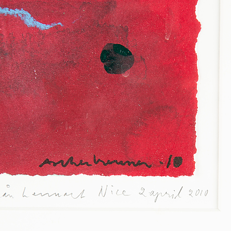 Lennart aschenbrenner, gouache and collage, signed and dated -10.