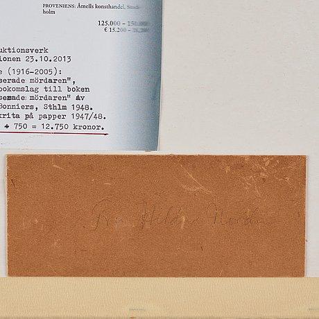 "Lennart rodhe, sketch for a book cover for tord hernes ""den ointresserade mördaren""."