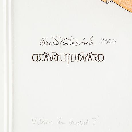 Oscar reutersvärd, mixed media on paper, signed.