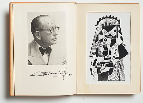 """Gösta adrian-nilsson, book, """"gösta adrian-nilsson"""" by nils lindgren, with original drawing by gan."""