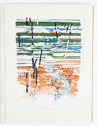 Jörgen fogelquist, lithograph in colours, 1981, signed ea.