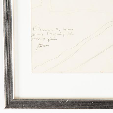 Stellan mörner, pencil drawing, signed.
