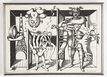 Erik Olson, litografi, 1967, signerad 94/100.