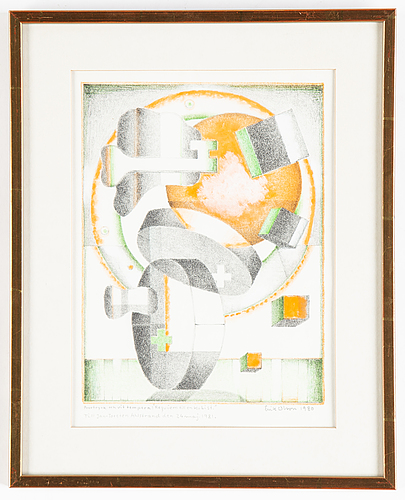 Erik olson, lithograph in colours with tempera, signed and dated 1980.