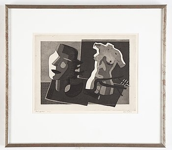 Nils Wedel, aquatint etching, 1932, signerad PT.