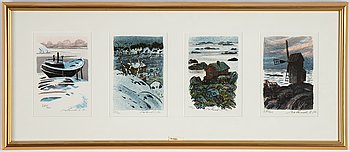 Roland Svensson, 4 lithographs in colour, signed 280/400.