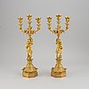 A pair of gilded bronze candelabra from the second half of the 19th century.