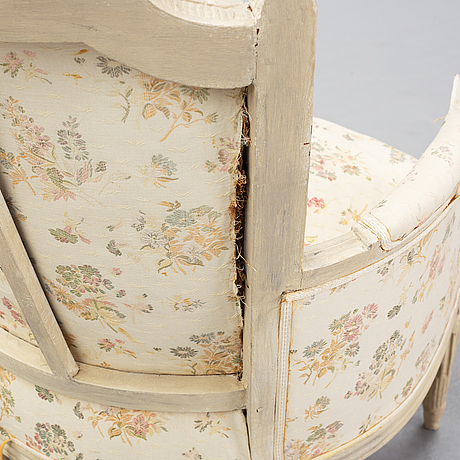 A matched pair of directoire style armchairs, end of 18th century and 19th century.