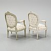 Two armchairs, gustavian and gustavian style, late 18th and early 20th century.